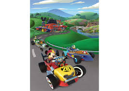 mickey and the roadster racers mural wall decal shop fathead mickey and the roadster racers fathead wall mural