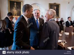 Us Cabinet Secretary Us President Barack Obama Greets Transportation Secretary Ray