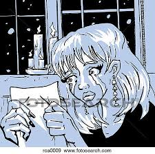 stock illustration of a woman reading a letter and crying rca0009