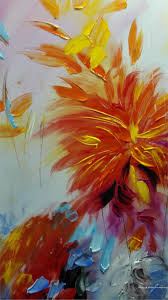 hand painted paintbrush knife abstract flower oil painting canvas