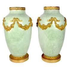 Sevres Vases For Sale Pair Of Large Ormolu Mount Sèvres Vases In Celedon Green Ruby