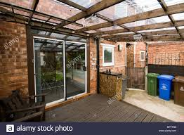 Roof Patio by Home Built Patio Decking With Corrugated Plastic Roofing And