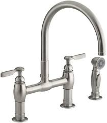 kohler k 6131 4 cp parq deck mount kitchen faucets with spray kohler k 6131 4 cp parq deck mount kitchen faucets with spray polished chrome touch on kitchen sink faucets amazon com