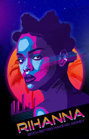 80s miami poster design with rihanna on behance
