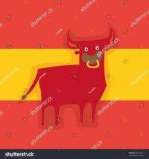 Spainish Flag Spanish Corrida Bull On Spanish Flag Stock Vektorgrafik 442699417