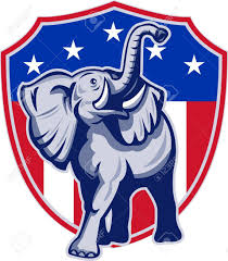 Usa Stars Flag Illustration Of A Republican Elephant Mascot With American Usa