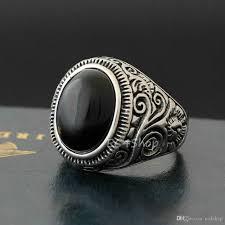 large silver rings images New men 39 s vintage large natural oval genuine black onyx gemstone jpg