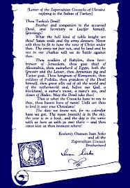 cossacks famous letter to the sultan of turkey