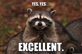 Raccoon Meme - yes yes excellent evil plotting raccoon quickmeme