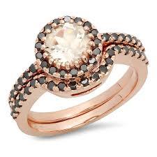 morganite wedding set 14k gold morganite black diamond