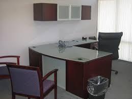 Glass Desk Office Furniture Brown Varnished Wooden Diy L Shaped Office Desk With