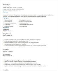 Sample Teller Resume by Sample Teller Resume 7 Examples In Word Pdf