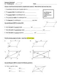 properties of parallelograms worksheet 6 2 properties of parallelograms