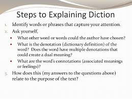 steps to explaining diction