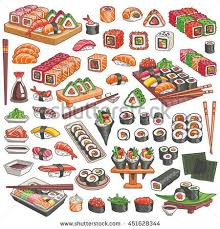 illustration cuisine colorful sushi and rolls set japanese traditional cuisine dishes