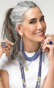 fabulous silver and brown hair looks amazing ageless beauty
