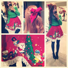 so neat wear a tree skirt to an ugly sweater party mandycane