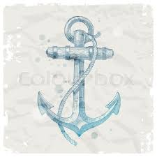 hand drawn anchor on grunge paper background vector illustration