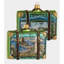 brazil travel suitcase glass ornament brasil one