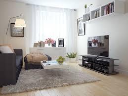 interior large white shag fur rug beige solid wood flooring grey