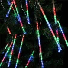 led meteor shower falling icicle tree string