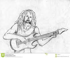 pencil sketch of guitar with men guitar in pencil drawing