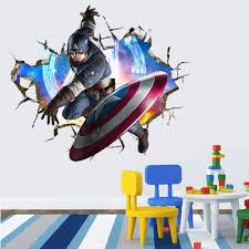 3d crack the avengers captain america kids room decor wall sticker does not apply
