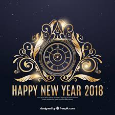 happy new year background with a golden clock vector free