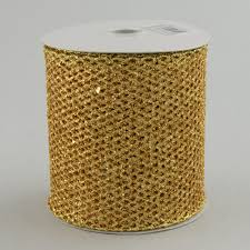 diamond mesh ribbon glittter diamond mesh ribbon gold 4 x 10 yards rm937408