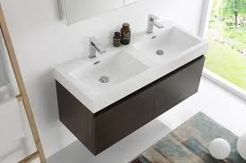 fresca mezzo 48 inch gray oak wall mounted double sink bathroom vanity