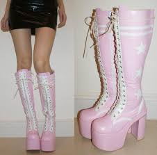 womens pink boots size 11 15cm heels black knee high lace up boots rock