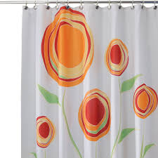 Shower Curtains Orange White Shower Curtain With Orange Flowers With Green Leaves On