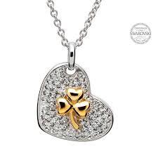 swarovski gold necklace crystals images Gold plated shamrock necklace encrusted with swarovski crystals jpg