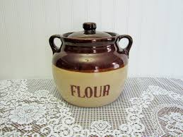 stoneware kitchen canisters vintage monmouth western pottery stoneware bean pot