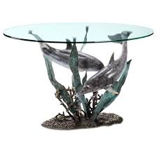 dolphin table with glass top cast aluminum dolphin duet glass top coffee table walmart com