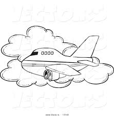 vector of a cartoon commercial airliner passing a cloud in flight
