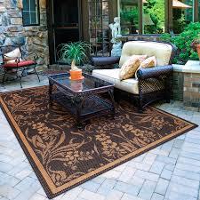 5x8 Outdoor Patio Rug Brown Indoor Outdoor Carpet Floral Pattern Indoor Outdoor