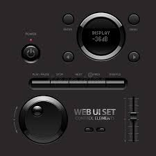 Two Dark Ui - dark shiny web ui elements buttons switches stock vector