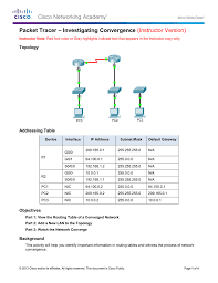 packet tracer u2013 investigating convergence instructor version