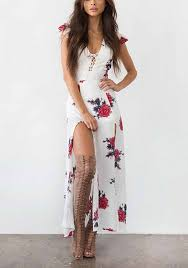 sexi maxi dress white floral drawstring cut out side slit maxi dress maxi