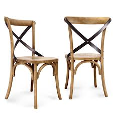elm wood antique bistro dining chair set of 2 overstock