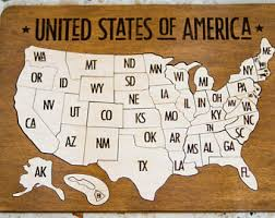 us map puzzle wood wooden map etsy