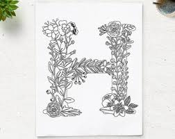coloring pages with letter h sale floral alphabet printable coloring page letter p instant