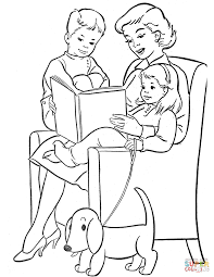mom reading to children coloring page free printable coloring pages
