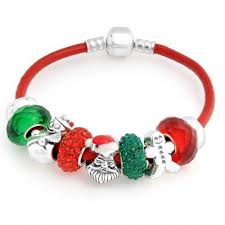bangle style charm bracelet images Silver santa christmas red leather charms bracelet pandora compatible jpg