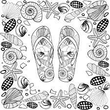 seashell flip flops seashell border frame with flip flop vector