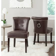 Safavieh Dining Chair Safavieh Sinclair Antique Brown Leather Side Chair Set Of 2