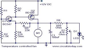 temperature controlled dc fan electronic circuits and diagram