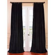 Unique Curtain Panels Signature Warm Black Velvet Blackout Curtain Panel Overstock