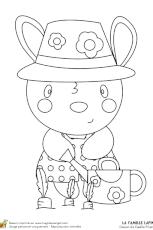 dessin à colorier du lapin et d u0027un chapeau de magicien